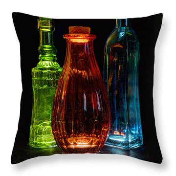 Three Decorative Bottles Throw Pillow