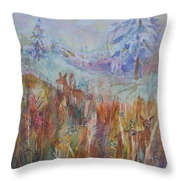 Three Deer Grazing In The Grass Throw Pillow