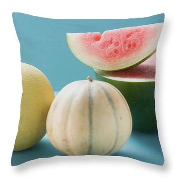 Three Different Melons Throw Pillow