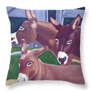 Three Donkeys Throw Pillow
