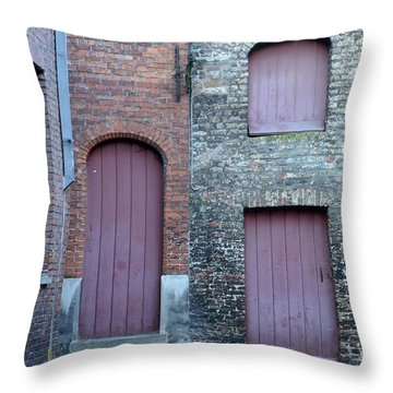Three Doors And Two Windows Bruges, Belgium Throw Pillow