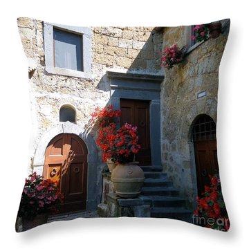 Three Doors In Bagnoregio Throw Pillow by Barbie Corbett-Newmin