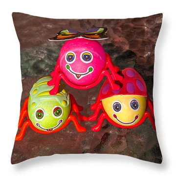 Three Easter Egg Bugs Throw Pillow by Sue Smith