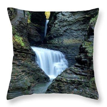 Three Falls In Watkins Glen Throw Pillow