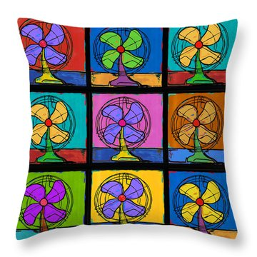 Three Fans Squared Throw Pillow by Dale Moses