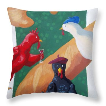 Three French Hens Throw Pillow by Whitney Morton