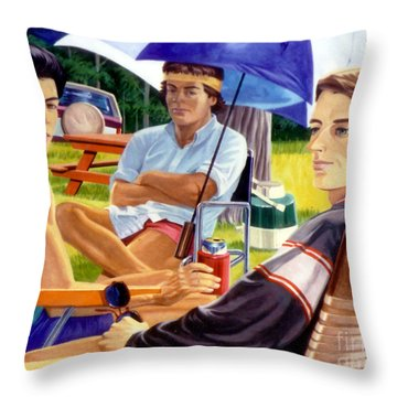 Three Friends Camping Throw Pillow by Stan Esson