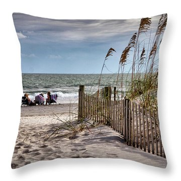 Three Friends Meet At Shell Island Throw Pillow
