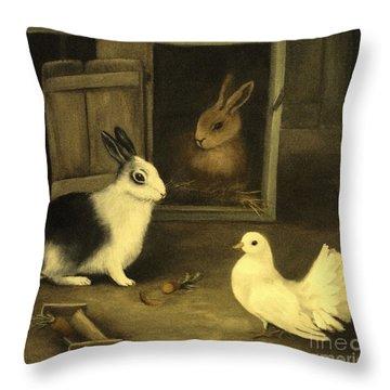 Three Friends Sharing A Moment Throw Pillow