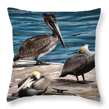Throw Pillow featuring the photograph Three Friends Shoot The Breeze by Phil Mancuso