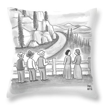 Three Frontiersmen And Two Women Watch A Mountain Throw Pillow