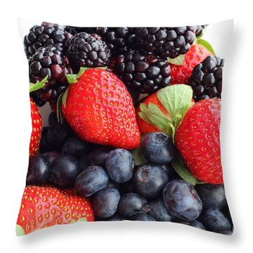 Three Fruit Closeup - Strawberries - Blueberries - Blackberries Throw Pillow by Barbara Griffin