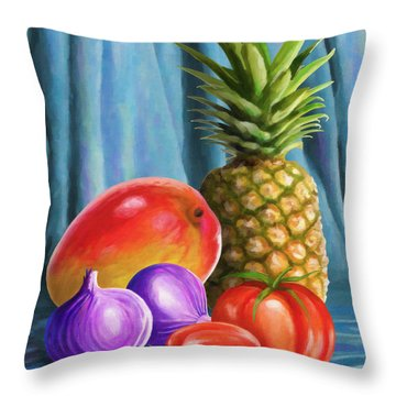 Three Fruits And A Vegetable Throw Pillow by Anthony Mwangi