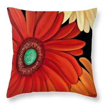 Throw Pillow featuring the painting Three Gerbera by Barbara McMahon