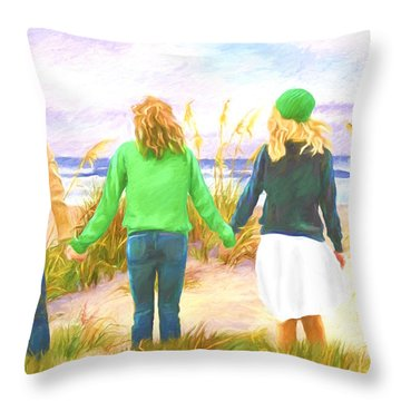 Three Girls At The Beach Throw Pillow
