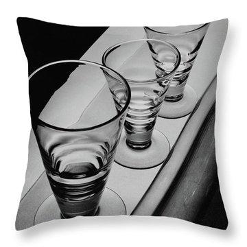 Three Glasses On A Shelf Throw Pillow