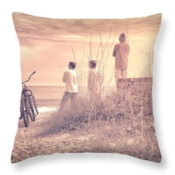 Throw Pillow featuring the photograph Three Guys Two Bikes One Beach by Phil Mancuso