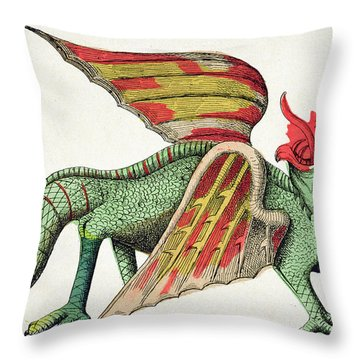 Three Headed Dragon Spitting Fire Throw Pillow by German School