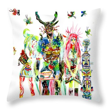 Three Horned Demon With Tea Tray-two Girls-nine Butterflies And One Totem Throw Pillow