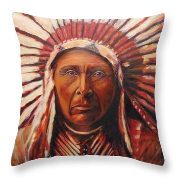 Three Horses, Native American  Throw Pillow