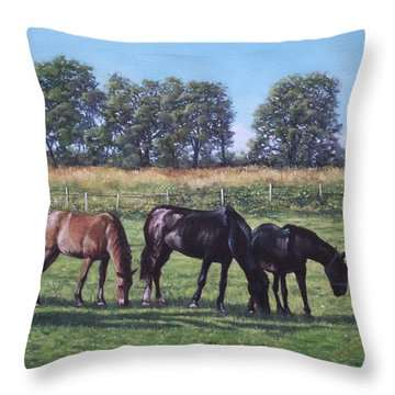 Three Horses In Field Throw Pillow