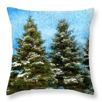 Throw Pillow featuring the photograph Three In A Row by Judy Palkimas
