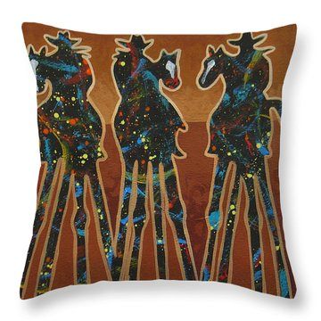 Three In Brown Throw Pillow