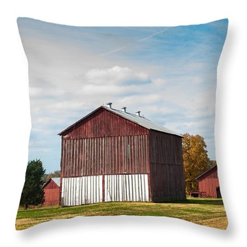 Throw Pillow featuring the photograph Three In One Barns by Debbie Green
