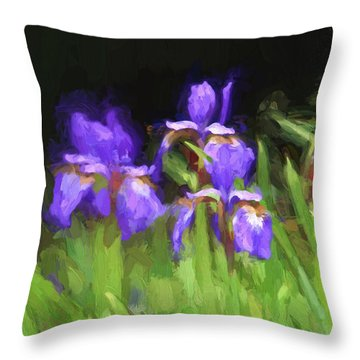 Three Japanese Iris Digitally Painted Photograph Throw Pillow