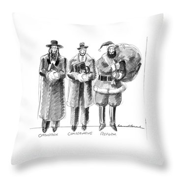 Three Jews Are Standing In A Line Throw Pillow