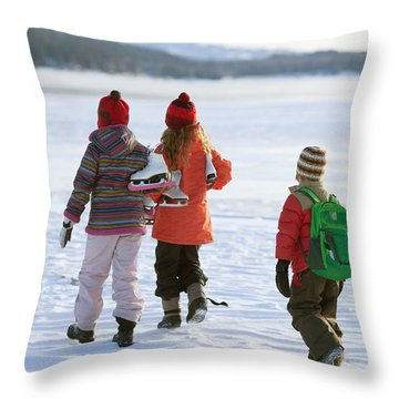 Three Kids Heading Out To Ice Skate Throw Pillow