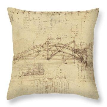 Three Kinds Of Movable Bridge Throw Pillow by Leonardo Da Vinci