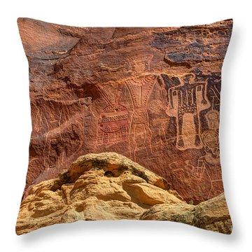 Three Kings Petroglyph - Mcconkie Ranch - Utah Throw Pillow