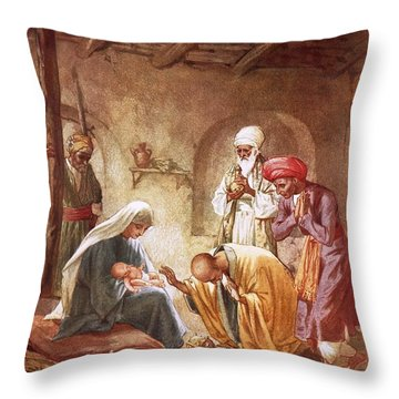 Three Kings Worship Christ Throw Pillow by William Brassey Hole