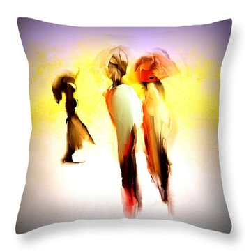 Three Ladies In Abstract Throw Pillow