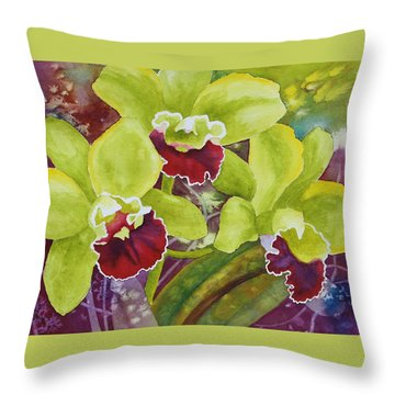 Three Ladies Throw Pillow by Nancy Jolley