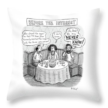 Three Late-middle Aged People Sitting Throw Pillow