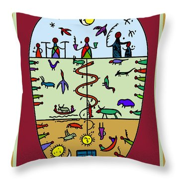 Throw Pillow featuring the digital art Three Layers Of Life by Vagabond Folk Art - Virginia Vivier