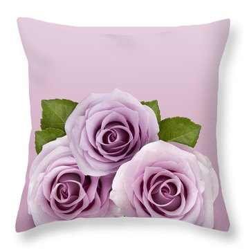 Three Lilac Roses Throw Pillow
