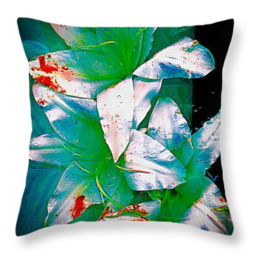 Throw Pillow featuring the photograph Three Lilies With Red by Carolyn Repka