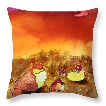 Three Little Birdies Throw Pillow
