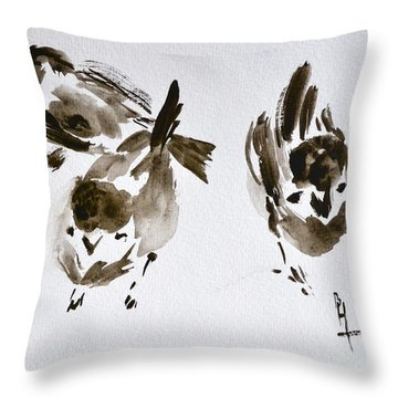 Three Little Birds Perch By My Doorstep Throw Pillow