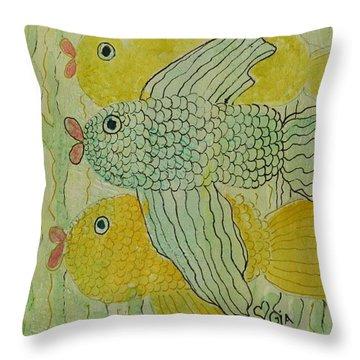 Three Little Fishies Throw Pillow