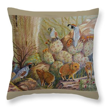 Three Little Javelinas Throw Pillow