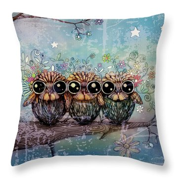 Three Little Night Owls Throw Pillow by Karin Taylor