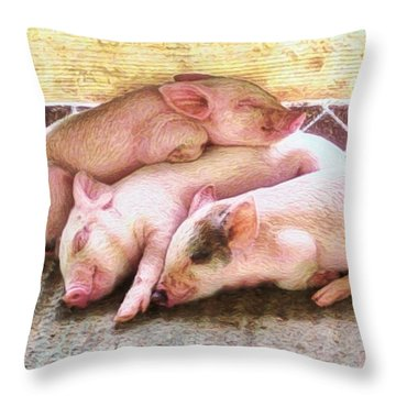 S Three Little Piglets - Square Throw Pillow