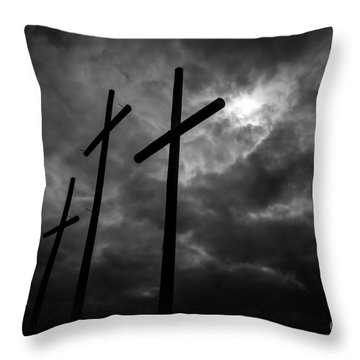 Three Lonely Crosses In The Mississippi Delta Throw Pillow
