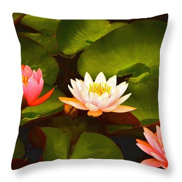 Three Lovely Gracious Waterlilies Throw Pillow by Byron Varvarigos