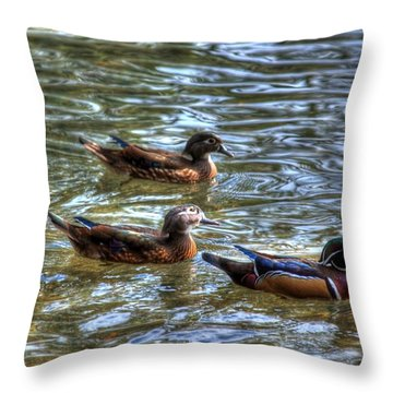 Throw Pillow featuring the photograph Three Mallard Ducks by Donald Williams