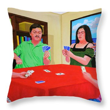 Three Men And A Lady Playing Cards Throw Pillow